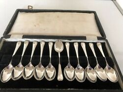 Lovely Cased Set Of 11 Solid Silver Coffee Spoons Aitken Bros Sheffield 1947
