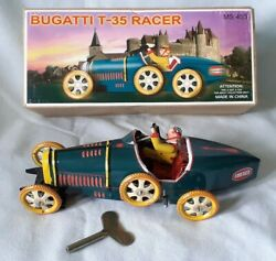 Schylling Bugatti T-35 Racer Tinplate Clockwork Car Great Condition And Boxed