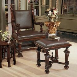 English Antique Replica Hand Carved Solid Mahogany Throne Chair And Footstool