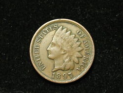 Just In Vf+1897 Indian Head Cent Penny W/ Full Liberty And Some Diamonds 48s