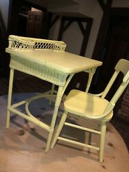 Antique Vintage Child Sized Wicker Desk And Wood Chair