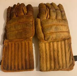 Vintage Antique Early Leather 1940s Hockey Gloves Worn Display Nhl Puckmaster