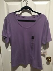 Nwt Women's Plus Size T-shirt V-neck Plum Relativity Size 2x New With Tags