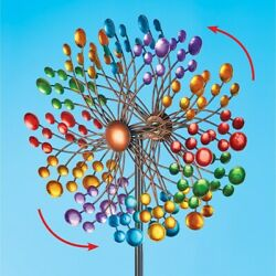 Colorful Double Wind Spinner 60 Outdoor Yard Art Garden Decoration
