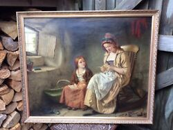 Original 19th Century Painting Mother Sewing And Child By Wj Haynes