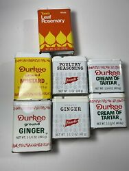Lot Of 7 Mix Vintage Durkee Spice Tins , Tone's Tin, French's Tins.