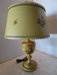 """Vintage Toleware Table Lamp Metal Urn W/ Parchment Shade Mustard Tone 24 ½"""" T"""