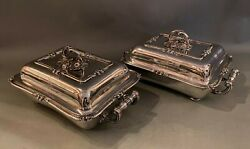Pair 18th C Antique English Silverplate Covered Entree Dishes By Matthew Boulton