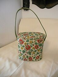 Vtg Rare 8.5 Rose Floral Needle Point Collectible Vinyl Brunch Bag Andthermos