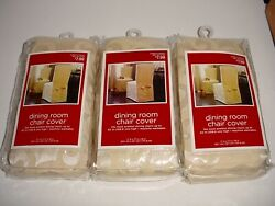 Lot Of 3 Target Dining Chair Covers Fits Armless Chairs Up To 42 - Ivory - Nip