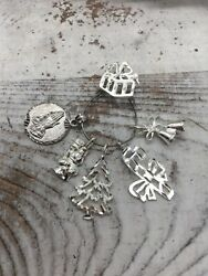 Vintage 1980s Sterling Silver Christmas Present Charm Holder And Charms Necklace