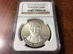 2009 Louis Braille Proof Silver Dollar Pf69 Ngc Pf 69 Ultra Cameo Uc