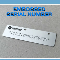 Stamped Embossed Dodge Gm Data Plate Car Truck Tag Frame Chassis Body