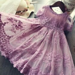 Baby Flower Girl Dresses Lace Embroidery Princess Party Summer Clothes Size 7