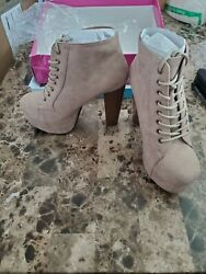 Speed Limit 98 ROSA Designer Inspired Lita Style Chunky High Heel Lac Ankle Boot $30.00