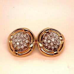 Pair 14k Yellow Gold Diamond Cluster Button Earrings