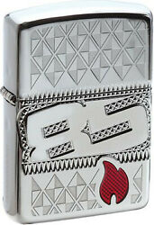 Zippo Original Lighter Armour Case Engraved/red Flame / 85 Years / Case