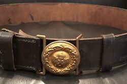 Imperial German Ww 1 Prussian Officerand039s Rare Black Late War Duty Belt And Buckle