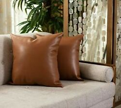 Package of 2 Faux Leather Pillow Covers 18quot;x18quot; Luxury Soft Thick Pillowcases