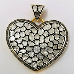 9.05cts Real Old Rose Antique Cut Diamond Silver Victorian Heart Pendant Jewelry