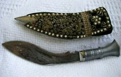 Antique Vintage Indian India Kukri Nepalese Gurhas Knife With Ornate Scabbard
