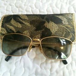 A5 Vintage Cool Ray Polaroid Gold Sunglasses Floral Gold Case Summer 98A Retro $19.95