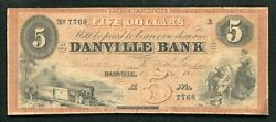 1858 5 Five Dollars Danville Bank State Of Virginia Obsolete Currency Note Rare