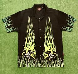 Flames All Over Casual Button Down Shirt . Great color Size Medium $34.99