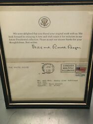 Signed Ronald And Nancy Reagan Personal Letter 1981 Card President Note Paper