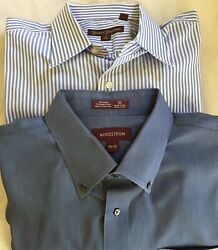 Nordstrom and Hickey Freeman Button Down Shirts Cotton Mens 17 1 2 Lot of 2 $18.00