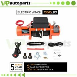 Electric Winch 12v 13000lbs Heavy Duty Truck Trailer Synthetic Rope With Cover