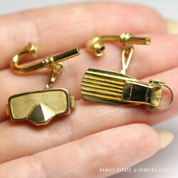 Vintage Rare Martyn Pugh London Scuba Snorkel Mask Fin 18k Yellow Gold Cufflinks