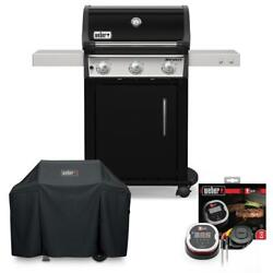 Weber Propane Gas Grill With Cover Cast Aluminum 3-burners Stainless Steel Black