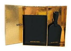 Michael Kors Boxed Gift Set Passport Case & Luggage Tag Black Leather        $58.85