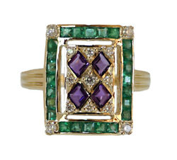 C101 Genuine 9k Or 18k Gold Natural Emerald Amethyst And Diamond Suffragette Ring