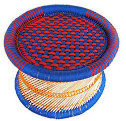 Handcraft Eco-friendly Cane Bar Mudha Stool Outdoor/indoor Colorblue Red