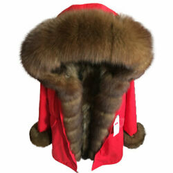 Womenand039s Real Fox Fur Collar Fluffy Fur Lined Coat Winter Parka Jacket Outwear