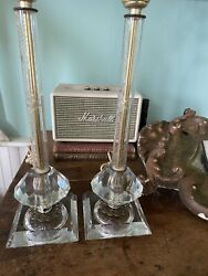 Chic Pair 1940's Etched Lead Crystal Glass Boudoir Lamps Floral Ormalu Details