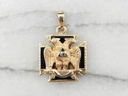 Masonic Knights Templar Double Sided Enamel Gold Pendant