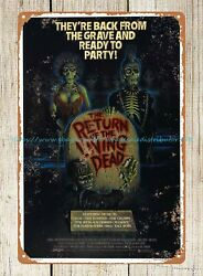 Return of the living dead horror movie poster tin sign dorm room art wall decor