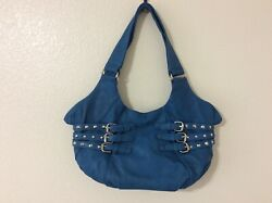 New Studded Buckled Design Blue Purse Chic Faux Leather Handbag Zipped Closure $20.00