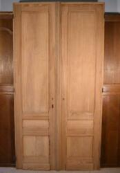 108 X 56 Pair Of French/belgian Antique 3 Panel Stripped Sanded Wood Doors