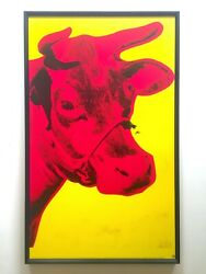 Andy Warhol Foundation Rare 1992 Lithograph Print Framed Pop Art Poster Cow 1971