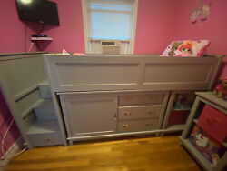 Kids Low Loft Bed With Small Dresser And Two Side Tables - Gray
