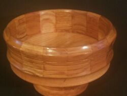 Vintage Handcrafted Solid Wood 5-1/2 H 9 Dia Round Lathe Turned Pedestal Bowl