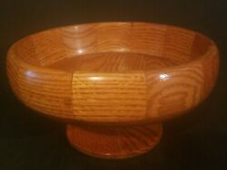 Vintage Handcrafted Solid Wood 5 H 8-7/8 Dia Round Lathe Turned Pedestal Bowl