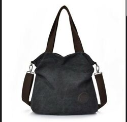 Black Handbags Bag Canvas Large Messenger Travel Crossbody Shoulder Bag Big Tote $33.99