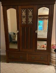 Hand Carved Antique English Armoire