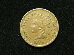 New Inventory Au 1881 Indian Head Cent Penny W/ Full Liberty And Diamonds 132s