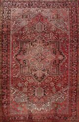 Antique Heriz Geometric Area Rug Hand-knotted Oriental Carpet Traditional 8x11